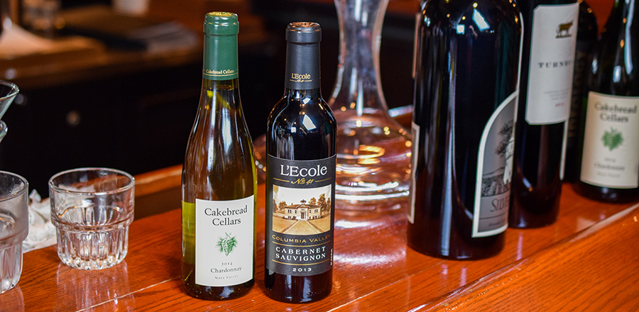 White wines at christner's on wooden countertop