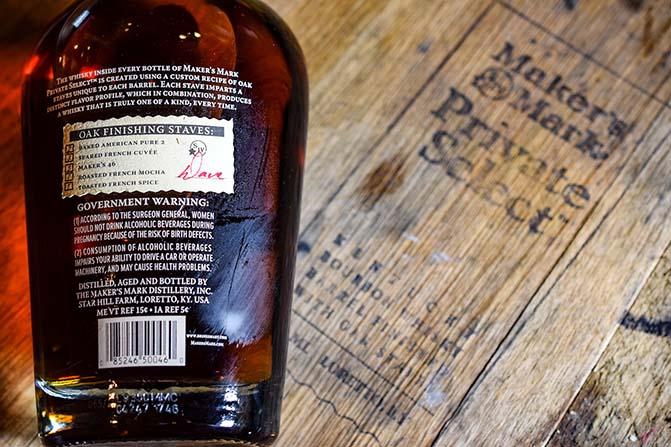 Christners private select back label bottle on barrel
