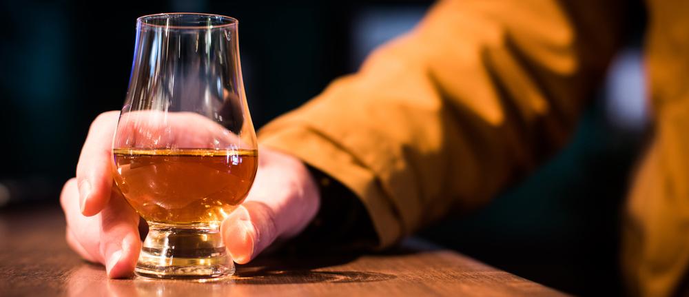 A Glencairn whiskey glass
