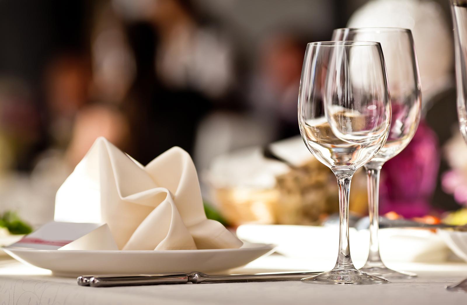 Napkin and wine glasses