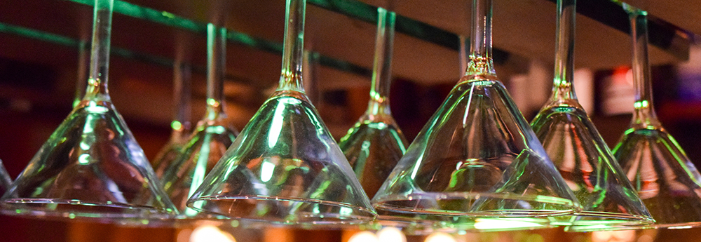 cocktail glasses hanging up